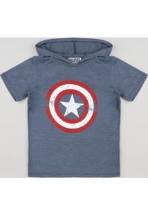 ae7474e09 Camiseta Infantil Capitão América Com Capuz Manga Curta Azul