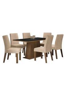 Conjunto Sala De Jantar Madesa Luciana Mesa Tampo De Madeira Com 6 Cadeiras Rustic/Preto/Imperial Rustic