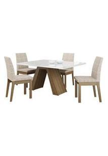 Conjunto Sala De Jantar Madesa Ayla Mesa Tampo De Vidro Com 4 Cadeiras Rustic/Branco/Fendi Rustic