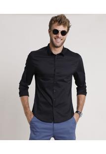 Camisa Social Masculina Slim Manga Longa Preta
