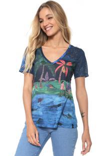 Camiseta Cantão Estampada Azul