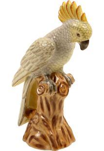 Escultura Decorativa De Porcelana Cacatua Gondwana