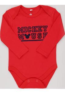 Body Infantil Mickey Mouse Manga Longa Vermelho