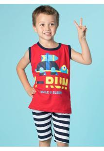 Pijama Infantil Puket Curto Regata Robôs Marinhos - Masculino-Vermelho