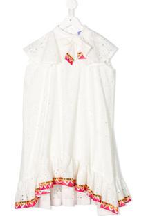 Stella Jean Kids Vestido Com Acabamento De Bordado Inglês - Branco