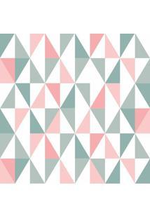 Papel De Parede Adesivo Triângulos Verde E Rosa (0,58M X 2,50M)