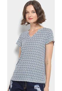 Camiseta Lança Perfume Estampada - Feminino-Azul