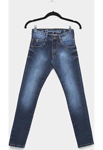 Calça Jeans Infantil Skinny Gangster Estonada Masculina - Masculino-Azul