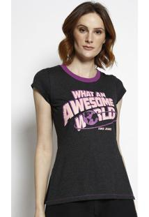 "Camiseta ""What Na Awesome World""- Preta & Roxa- Cocacoca-Cola"