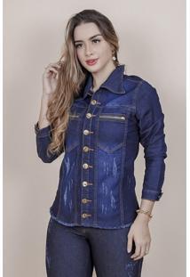 Jaqueta Jeans Feminina Com Elastano Dark