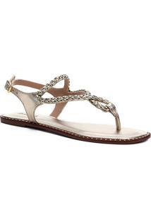 Rasteira Shoestock Gota Strass - Feminino-Dourado