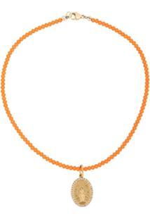 Nialaya Jewelry Colar Com Pingente Jesus De Contas - Laranja