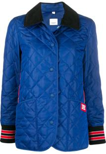 Burberry Quilted Logo Patch Buttoned Jacket - Azul