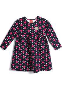 Vestido Kyly Infantil Poás Azul-Marinho/Rosa