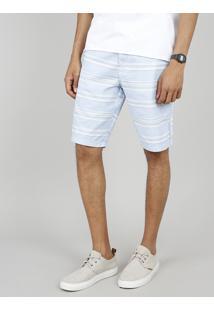 Bermuda Masculina Slim Listrada Com Cordão E Bolsos Azul Claro