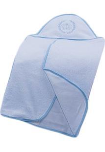 Toalha De Banho Laura Baby C/Capuz Realeza Bordada Azul