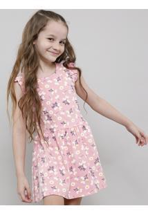 Vestido Infantil Estampado Floral Sem Manga Decote Redondo Rosa