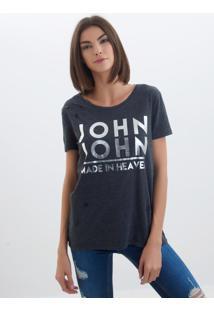 Camiseta John John Grey Malha Cinza Feminina (Cinza Medio, M)