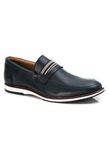Sapato Social Masculino Loafer Em Couro Marinho