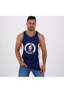 Regata Nba Essentials Estampada Marinho E Branca