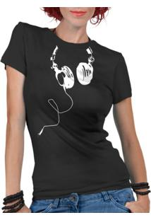 Camiseta Criativa Urbana Fones Nerd Geek Preta - Kanui