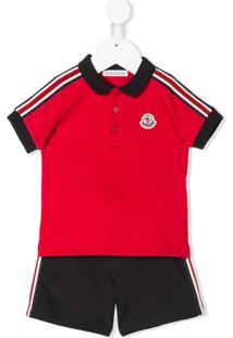 Moncler Kids Conjunto De Moletom Listrado Com Logo - Vermelho