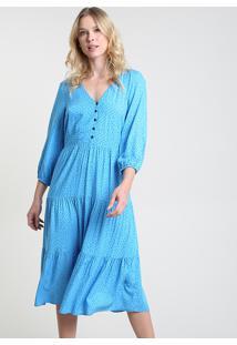 Vestido Feminino Midi Estampado De Poá Manga Longa Azul