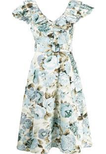 P.A.R.O.S.H. Vestido Gola V Com Acabamento De Babados - Azul