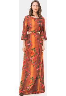 Vestido Longo Estampado Recorte Souk - Lez A Lez