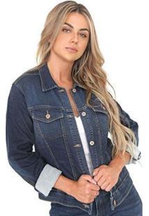 Jaqueta Jeans Bloom Leny Feminina - Feminino-Azul