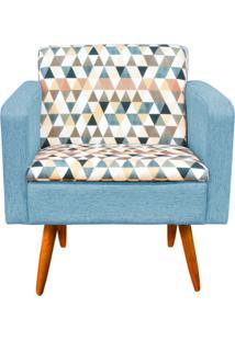 Poltrona Decorativa Emília Composê Estampado Triangulo D87 Com Linho A58 - D'Rossi Azul