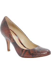 Schutz Sapato Tradicional Em Couro Snake Cobre & Marrom Salto: 7Cm