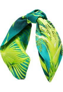 Versace Headband Com Estampa De Floresta Verde - Estampado