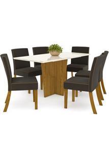 Sala De Jantar Mesa Retangular Vértice 160Cm Com 6 Cadeiras Maris Natu