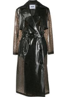 Msgm Trench Coat Animal Print - Cinza