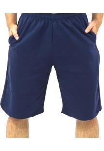 Bermuda Moletom Dpontes Elástico 3 Bolsos Masculina - Masculino-Azul Escuro