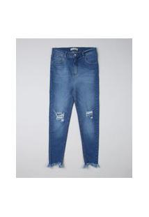 Calça Jeans Juvenil Skinny Destroyed Azul Médio