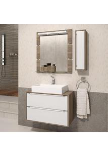 Gabinete Suspenso Para Banheiro Com Espelheira Ravena 80 Balcony Supremo/Merlot