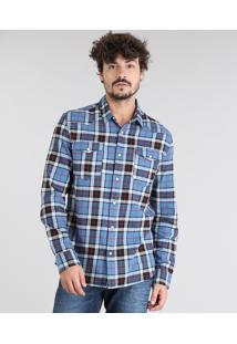 Camisa Masculina Em Flanela Estampada Xadrez Com Bolso Manga Longa Azul Claro