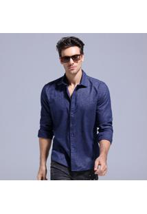Camisa Masculina Slim Manga Longa - Azul Marinho M