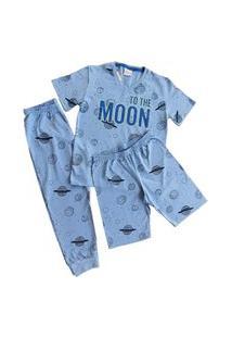 Pijama Infantil Menino Blusa Short Calça Algodão Milon 7485 Azul Claro
