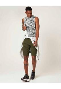 Bermuda Slim Sarja Com Elastano Malwee Masculina - Masculino-Verde