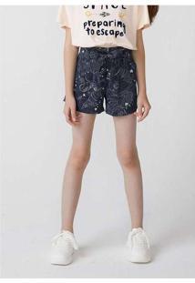 Shorts Infantil Menina Clochard Em Viscose Azul