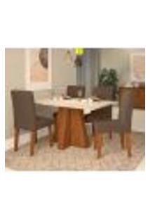 Conjunto De Mesa De Jantar Com 4 Cadeiras Estofadas Amanda Suede Off White E Chocolate