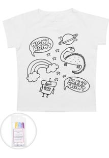 Camiseta Fun Friends Kids Colorir Branca