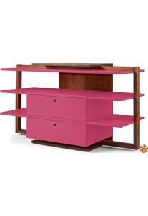 Rack Tv Com Prateleiras E 2 Gavetas De Madeira Laqueada Colorido Moderno Easy 871-0296 - 130X43X79Cm