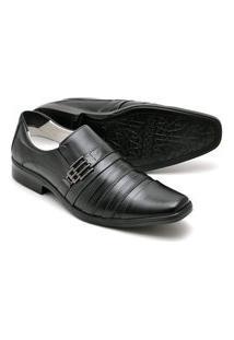 Sapato Masculino Esporte Fino Preto Em Couro Confortável 010