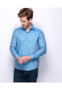 Camisa Social Teodoro Acetinada Vang 60 Fios Nobre Masculina - Masculino-Azul Claro