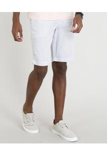 Bermuda Masculina Listrada Com Cordão Off White