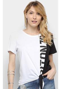 Camiseta Triton Bicolor Amarração Estampa Manga Curta Feminina - Feminino-Branco